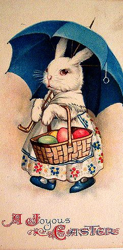 Easter Bunny Carrying Unbrella and Basket of Eggs Antique Digital Image Download…