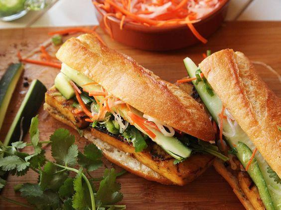 Grilled Lemongrass- and Coriander-Marinated Tofu Vietnamese Sandwiches (Vegan Banh Mi) Recipe
