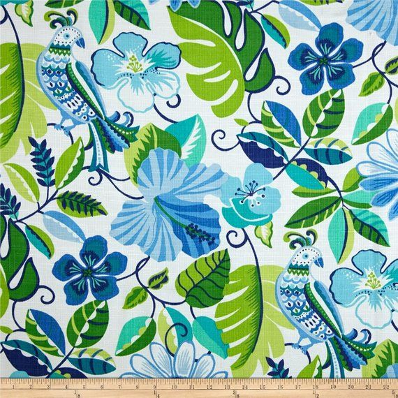 Two 96″ x 50″ Custom Curtain Panels – Indoor/Outdoor – Floral – Green Blue