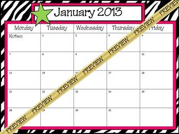 School Calendar 2012-2013 with zebra background with hot pink/lime accents.  *If you are looking for a specific theme that you don't see, send ...