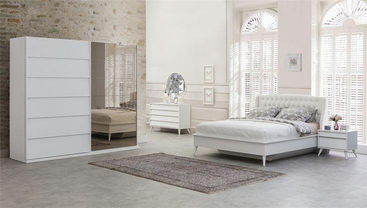 luna beyaz yatak odası takımı
