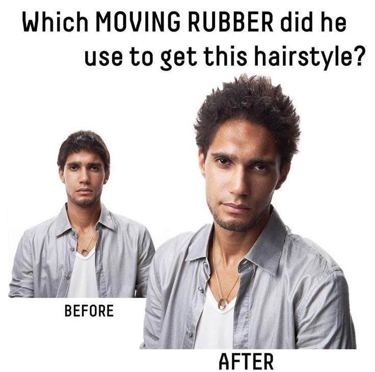 Which GATSBY MOVING RUBBER did he use to achieve this hairstyle? Choose the appropriate answer from the following: A. he used SPIKY EDGE. B. it must be WILD SHAKE. C. LOOSE SHUFFLE, no doubt. D. definitely GRUNGE MAT