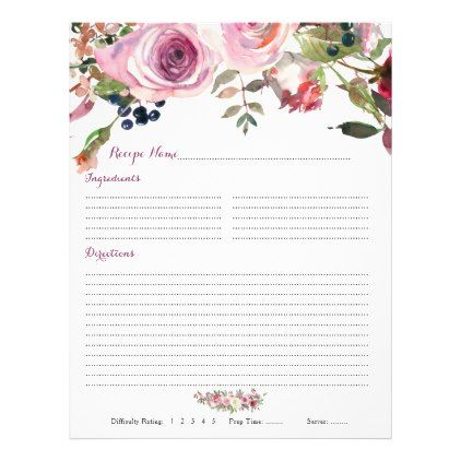 purple pink rose floral binder recipe inserts flyer floral bridal