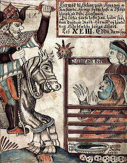 Hermod er søn af Odin og Frigg.  Gudernes sendebud (det nordiske panteons modstykke til den græske Hermes).  Hans mest kendte hverv var, da han af Odin blev sendt til Hel for at købslå om Balders frigivelse.  Foto: Hermod rider til Hel på Sleipnir