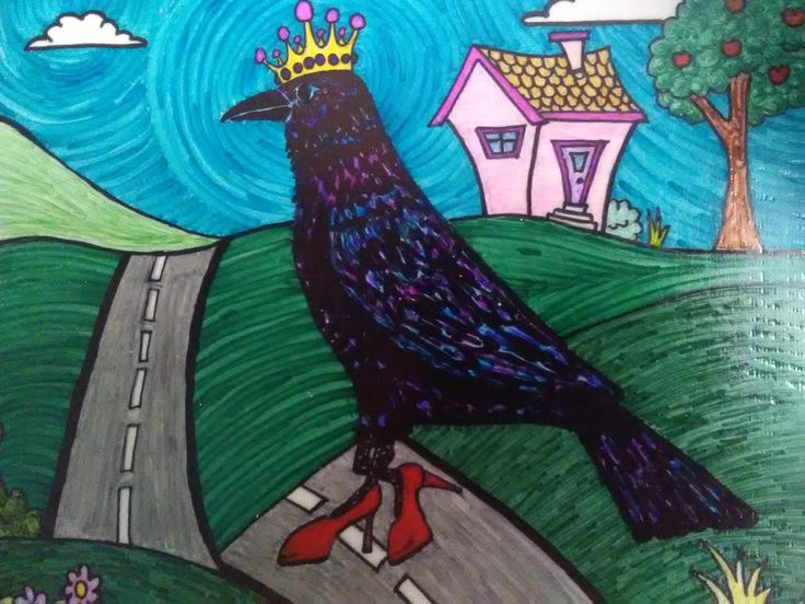 Original Sharpie Marker Art, Ravenshoe Road, Bird Wall Art, Country Road, Whimsical Countryside by SeaMySoul on Etsy