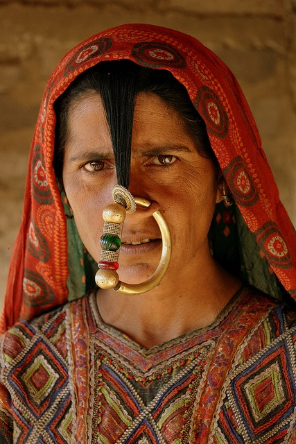 The Jat - one of the hidden tribes in Gujarat (India).    Dhaneta Jat nosering.    The Jats who live in Kutch are particularly conscious of their identity as a group and their sense of unity comes from a perception of shared historical traditions and a b