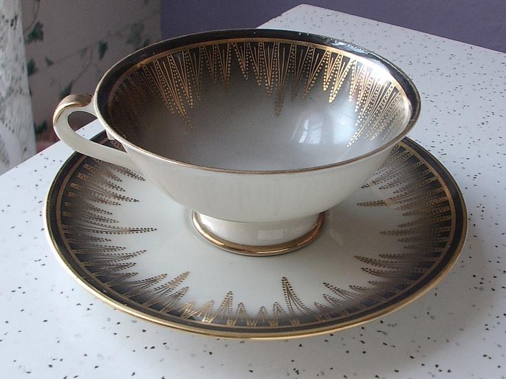 vintage black and gold tea cup and saucer set Bavaria Germany porcelain tea set & 183 best Art Deco: Tableware/Flatware images on Pinterest | Art deco ...