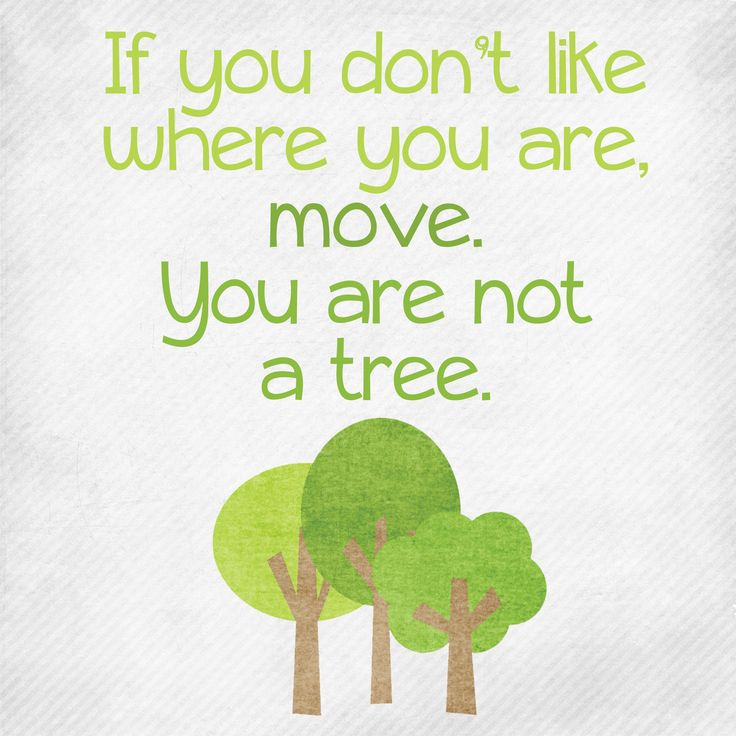 Change: If you don't like where you are, move. You are not a tree.