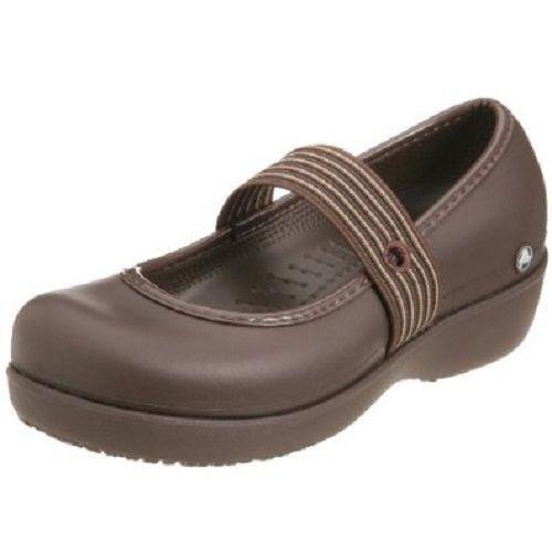 Ladies Brown Slip On Crocs Wedge Shoes Uk 8 (Us 10) Lexi