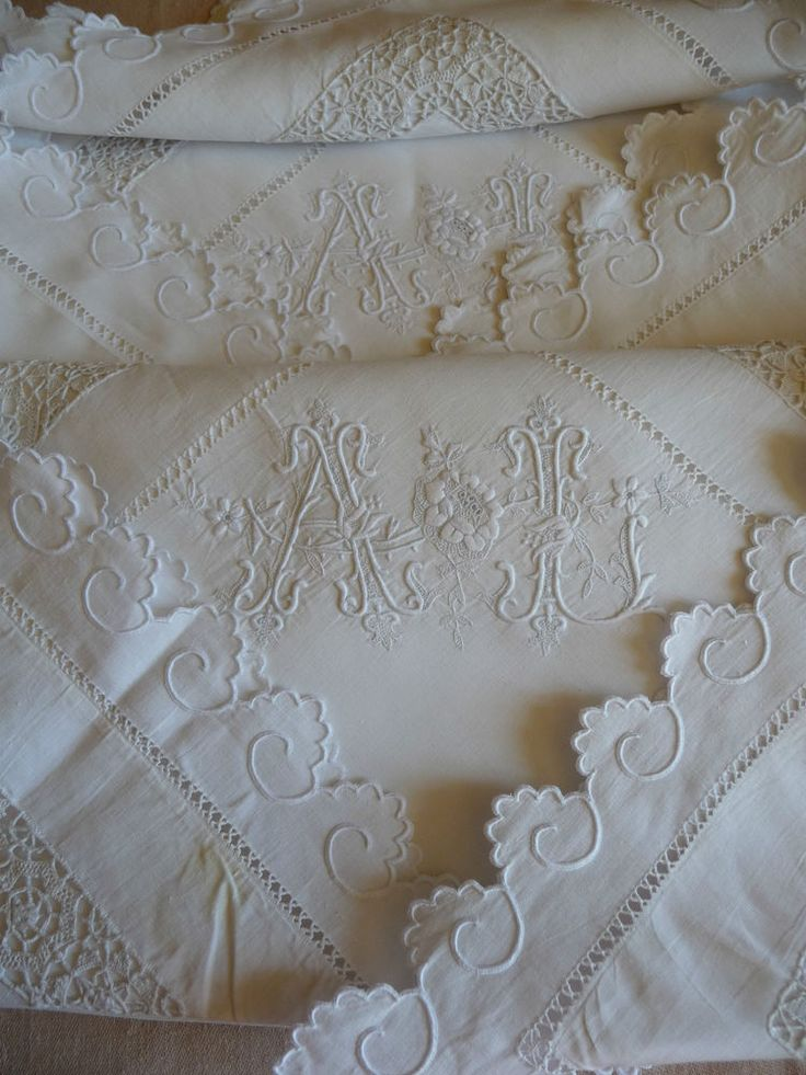 "Fabulous pair antique french linen pillow shams monogram ""al"" hand worked lace"