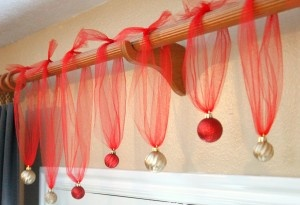 hang ornaments from tulle