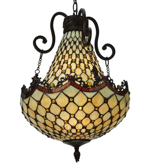"16""W Diamond & Jewel Tiffany Victorian Pendant Light"