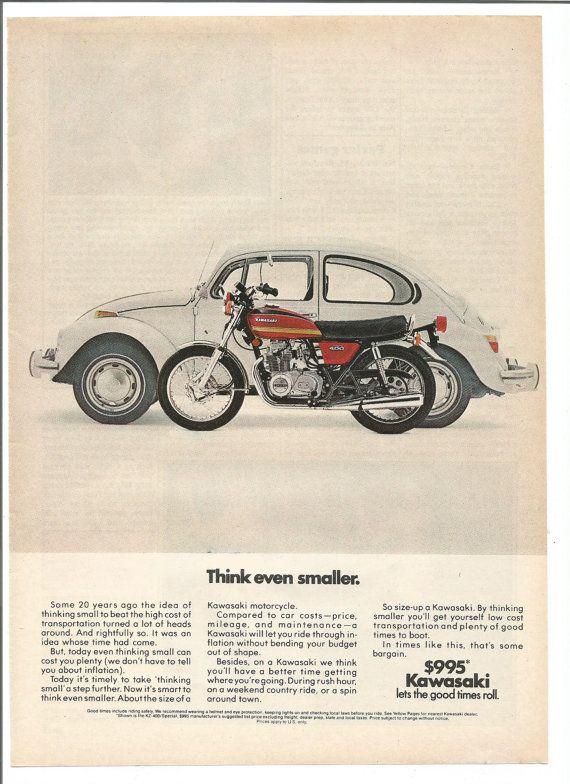1975 annonce Kawasaki Moto moto Volkswagen Beetle 400cc plus petite pensez économie 70 s murale Art déco