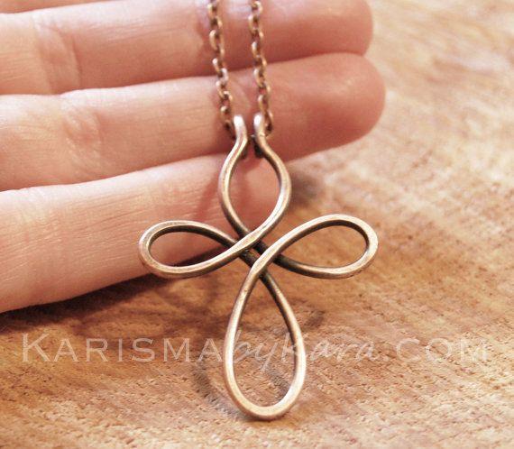 Cross Necklace. Copper Wire. Oxidized. Celtic. Wire Jewelry.
