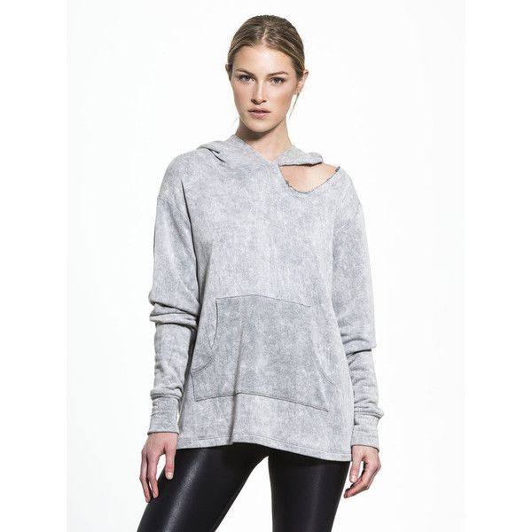LNA Cueva Hoodie ($107) ❤ liked on Polyvore featuring tops, hoodies, ripped hoodie, low top, party tops, night out tops and distressed hoodie