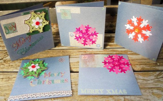 Snowflakes  set of 5 handmade cards christmas by RogueKissedCraft