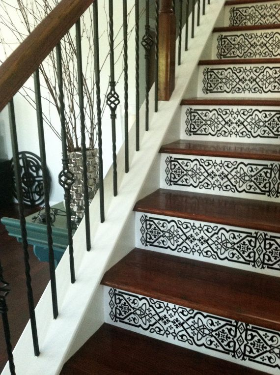 Staircase riser vinyl decal scroll pattern removable stair decals look like painted stencils