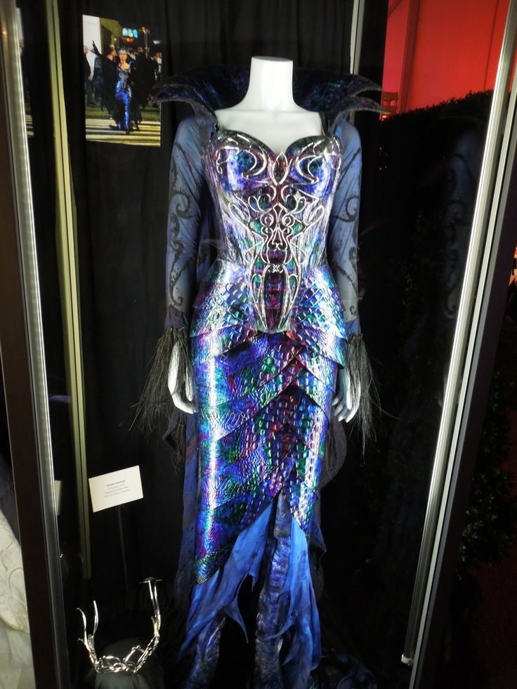 Hollywood Movie Costumes and Props: Evil Queen Narissa costume worn by Susan Sarandon in Enchanted on display... Original film costumes and props on display
