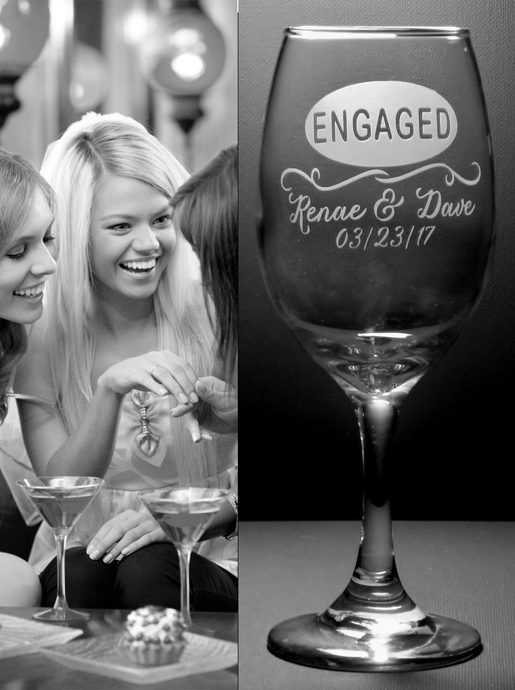 Oval Design Engaged Engagement Custom Wine Glass Set | Engagement Couple Gift | Engaged Party Gift | Engagement Wine Glasses by JuliesHeart on Etsy