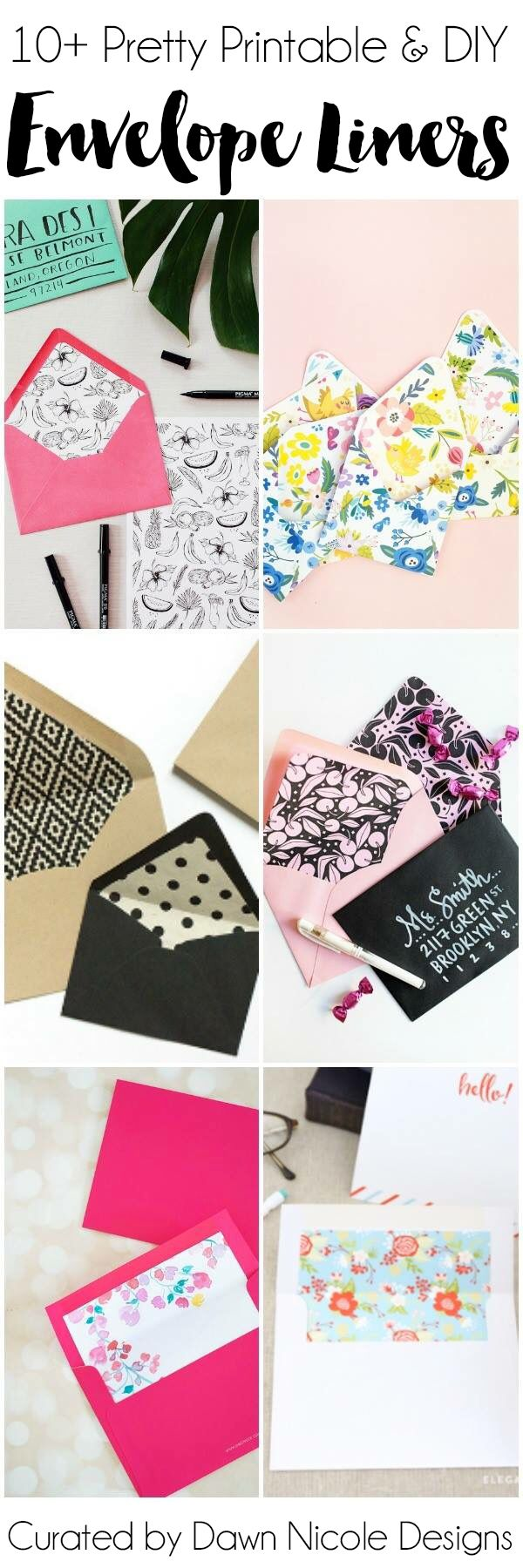 10+ Pretty Printable & DIY Envelope Liners | dawnnicoledesigns.com