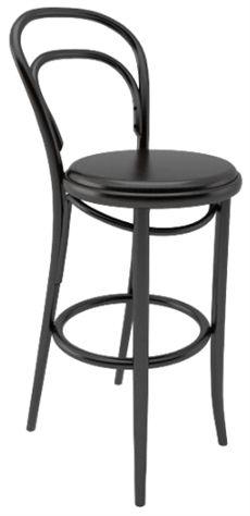 No 14 från Ton är en klassisk serie som även finns som stol. Barstolen kan väljas helt i trä eller där sitsen är klädd. Flera olika träfärger och klädselval finns vid klädd sits. #barstolar #dialoginterior