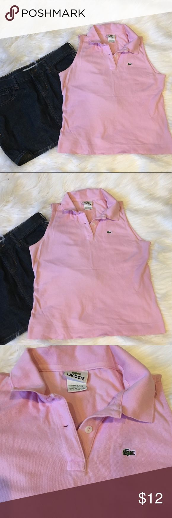 Lacoste Pink Sleeveless Polo Lacoste Light Pink Sleeveless  Polo in good pre-loved condition. It has two buttons & is Sleeveless with signature  alligator emblem on chest. Size 44, but I'm in opinion it fits like similar to US Size 6. Let me know if you want additional photos or measurements as this style tends to run on the shorter side. Lacoste Tops Button Down Shirts