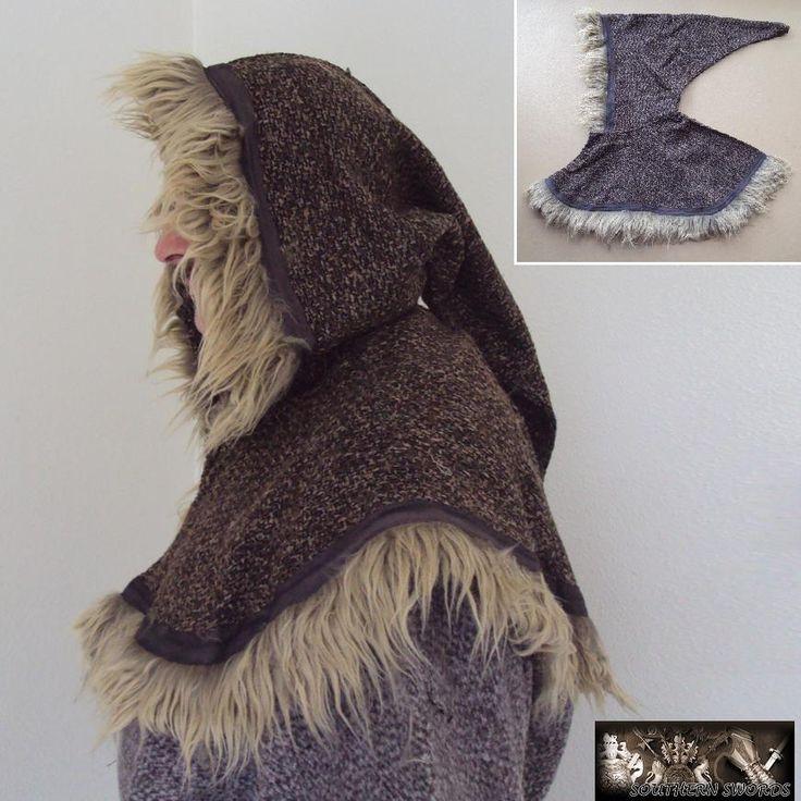 Deluxe Medieval Hood With Fur Trim - Black Brown or Green