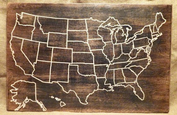 Travel Map US Wood Map USA Travel Map by HiddenCabin on Etsy