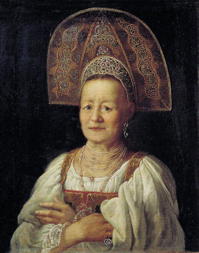 """Drozhdin Peter S. (Drozhzhin, Drozzhin 1745 - 1805) """"Portrait of a widow in a headdress,"""" 1797"""