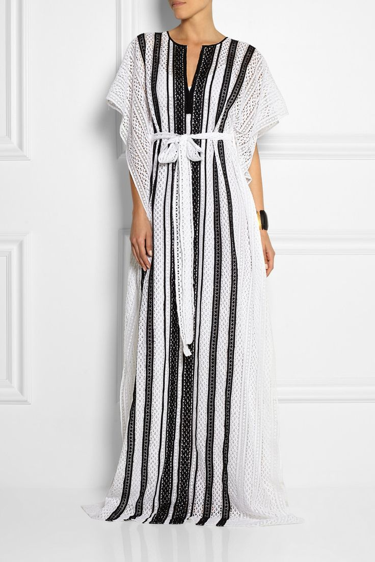 Oscar de la Renta | Striped crocheted cotton kaftan | NET-A-PORTER.COM