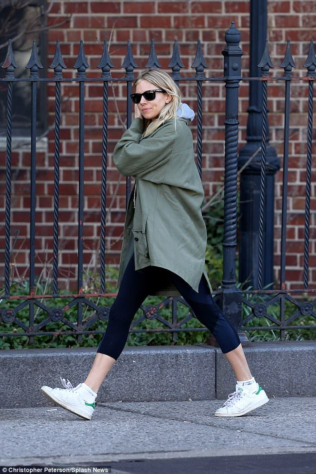 Chic and casual: Sienna steeped out amide the reports in a low key look featuring leggings...