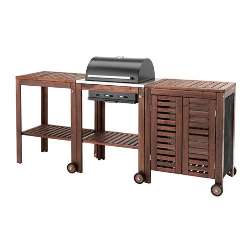 IKEA - ÄPPLARÖ / KLASEN, Charcoal grill with cart & cabinet, brown stained, , With ÄPPLARÖ/KLASEN charcoal grill, cart and storage cabinet