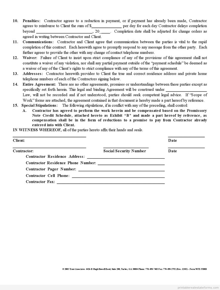 Contractor Agreement Template Word Printable Agreement Between