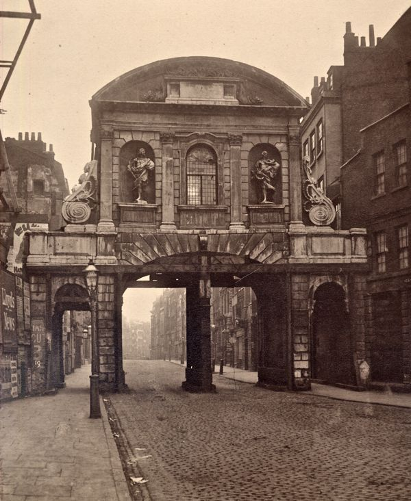 Temple Bar, designed by Christopher Wren in 1672, once stood in the Strand as one of the gates to the City of London, but it was removed in 1877 and languished in Theobalds Park in Hertfordshire until it was brought back and installed at the entrance to Paternoster Square next to St Pauls Cathedral in 2004. In Search of Relics of Old London Spitalfields Life