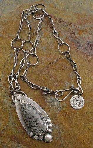 Silver Agate Teardrop Pendant Necklace  - Libellula Jewelry