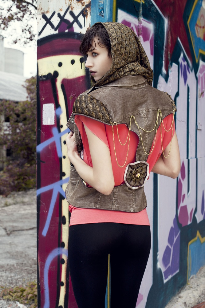MRJ's Capuccino D'Oro (back view): brown curduroy, lace removable hoodie, a fabric flower on the back, carefully placed bijoux across the entire back side.