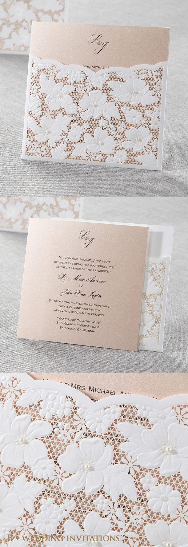 laser cut wedding invites canada%0A Spring Flower Pocket by B Wedding Invitations  wedding  invitations   weddinginvitations  lasercut