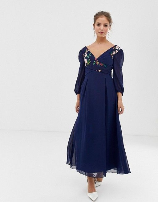 83c6cd62bd40 Little Mistress | Little Mistress floral embroidered midaxi skater dress in  navy