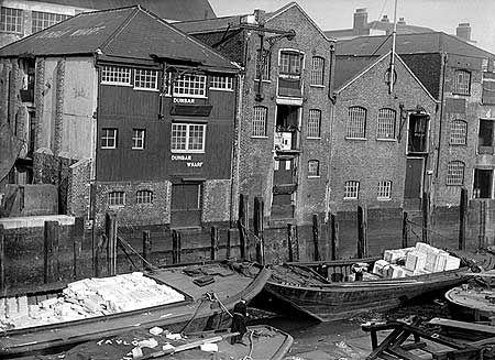 Dunbar Wharf, Narrow Street, Limehouse, London c 1955