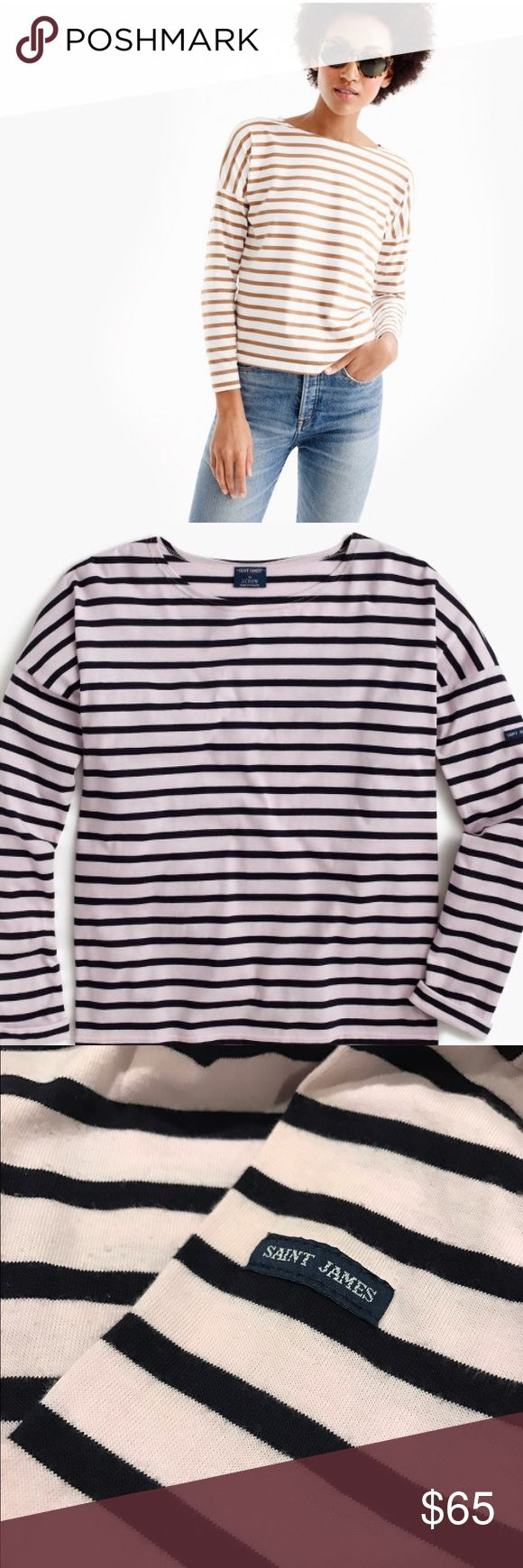 Saint James® for J.Crew slouchy T-shirt PRODUCT DETAILS Saint James has been spinning some of the world's finest knits out of its Normandy-based factory since 1889 and has become famous for its Breton shirt, a nautical-inspired style featuring classic stripes. Designed exclusively for us, this airy cotton version features a roomy body and slimmer sleeves. Tour the Saint James factory. Color is lilac and white  Cotton. Machine wash. Made in France. Select stores. Item A1931. J. Crew Tops Tees…
