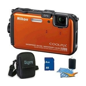 Nikon COOLPIX AW100 16 MP CMOS Waterproof Digital Camera with GPS and Full HD 1080p Video (Orange) Deluxe Bundle