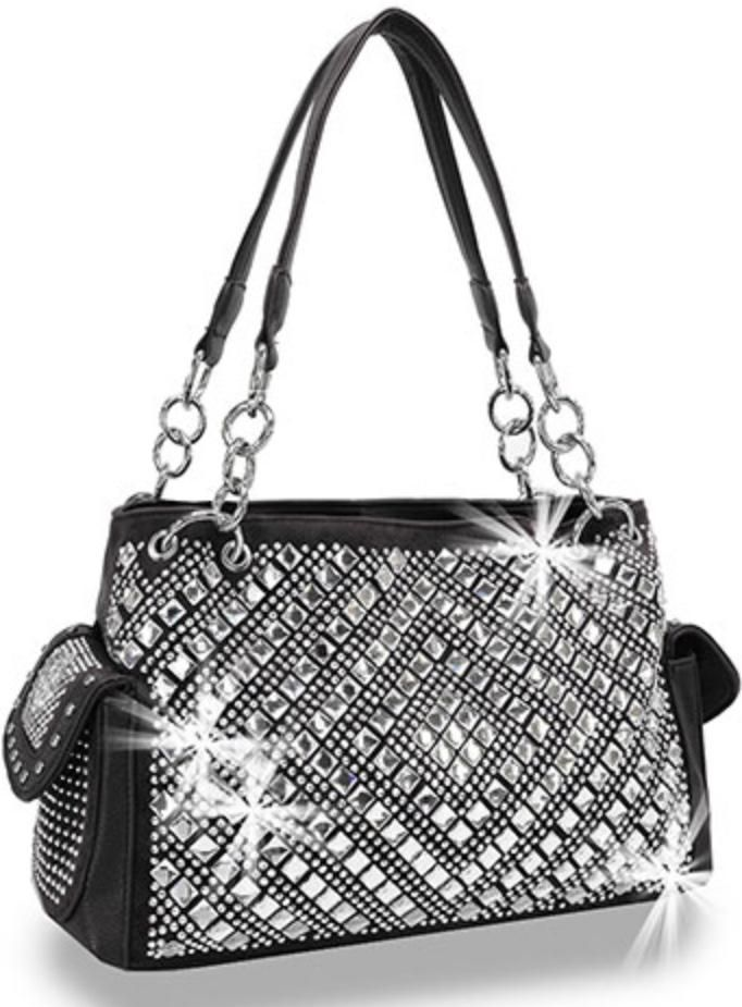 f17aaeb4040860 Black Bling accented dual pockets handbag in 2019 | Products | Black ...