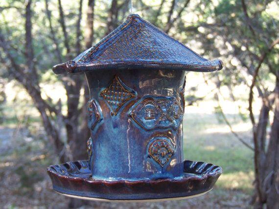 Ceramic Bird Feeder Cottage by SeadriftGardens on Etsy