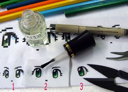 Amigurumi Tutorial: How To Make Eyes for Your Amigurumi Doll here: http://kinkaku.exteen.com/20100106/how-to-make-eyes-of-my-doll