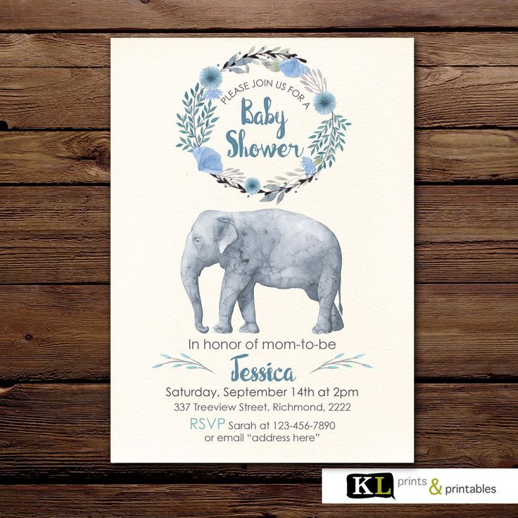 Boy Baby Shower Invitation, baby shower Invites,  boy baby shower Printable Invitation, Digital invite, Elephant baby shower invitation by KLprintsandprintable on Etsy