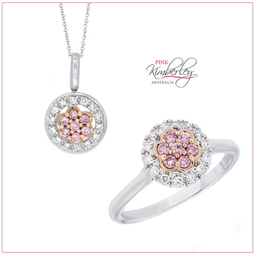 PKR-0327  This Ring, set in 18ct Rose and White Gold has a centre Pink Round Brilliant Cut Diamond 0.03ct 5PP/SI with 6 Pink Round Brilliant Cut Diamonds totalling 0.15ct 4PP/SI and 14 Round Brilliant Cut Diamonds equal to 0.15ct F/VS  PKP-0338 A matching Pendant, set in 18ct Rose and White Gold has this beautiful centre Pink Round Brilliant Cut Diamond 0.03ct 5PP/SI, with 6 Pink Round Brilliant Cut Diamonds totalling 0.14ct 4PP/SI and 14 Round Brilliant Cut Diamonds equal to 0.15ct F/VS