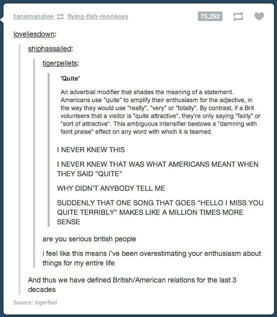 """""""Quite"""" American vs. """"Quite"""" British"""