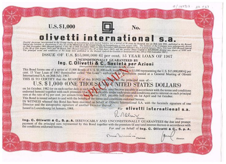 Olivetti International S.A., SPECIMEN, 23.11.1967