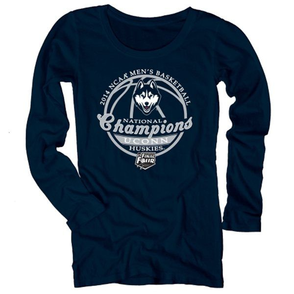 UConn Huskies 2014 NCAA Men's Basketball National Champions Women's Scoop Neck Long Sleeve T-Shirt - Navy Blue