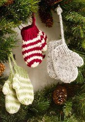 cute decoration for  your tree or as gift tags.  knit mitten ornament pattern